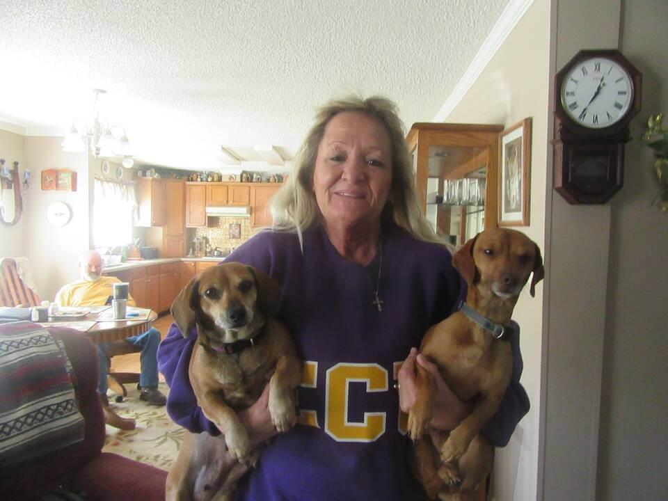 Angel and Sparky, two dogs helped by PETA spay/neuter program