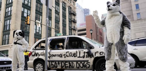 Car-Smash Protest Urges Chrysler to Sever Iditarod Ties