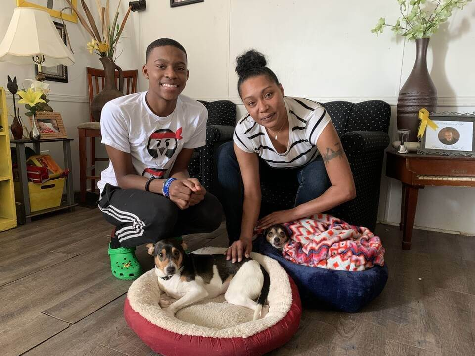 Cookie and Tip, two dogs helped by PETA's spay/neuter program