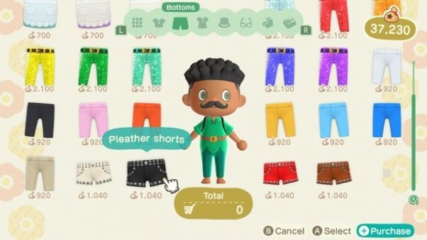 Pleather shorts in Animal Crossing Videogame