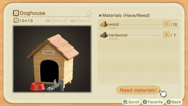 building a doghouse in animal crossing game