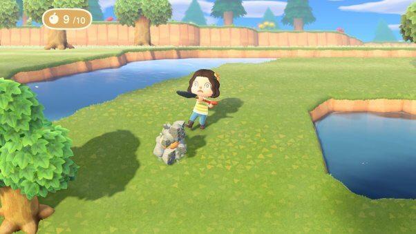 smashing rocks in new animal crossing game