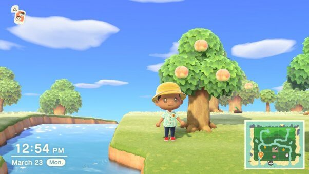 peach tree in animal crossing videogame