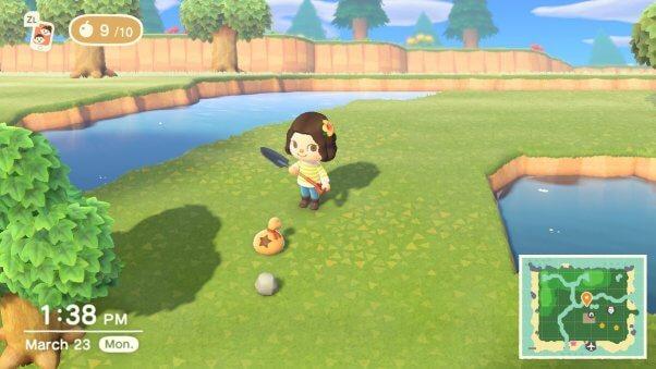 smashing rocks in animal crossing game