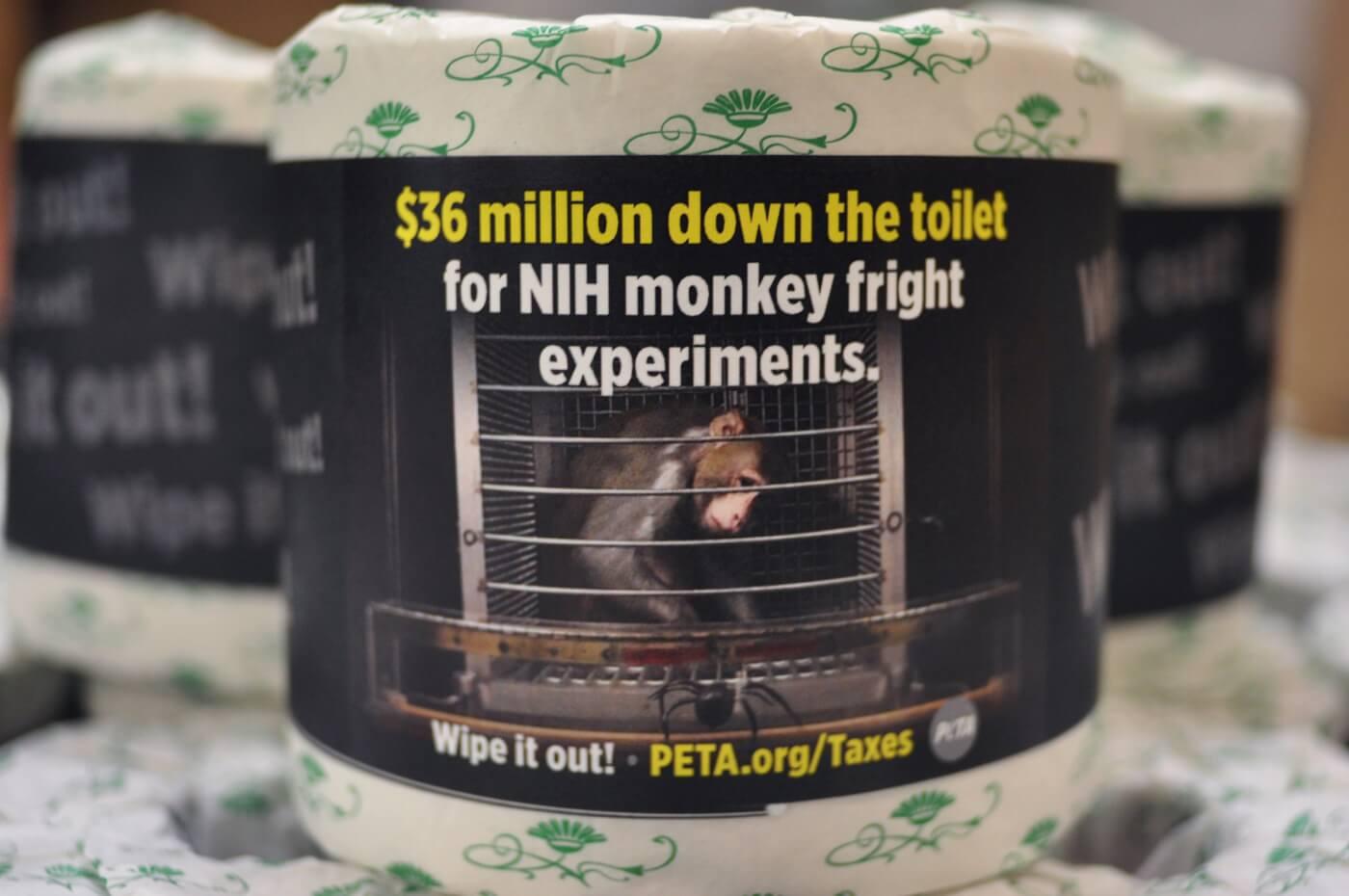 PETA Toilet Paper for congress up close 1 roll