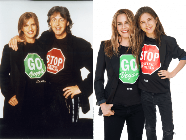 Alicia Silverstone and son Bear recreate Paul McCartney and Linda's vegan t-shirt photos