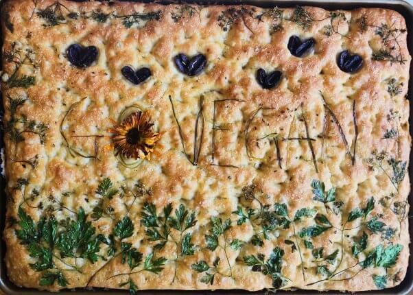 go vegan focaccia bread art