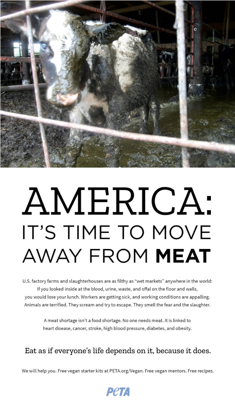 PETA's $200k move away from meat ad campaign blitz urges americans to move away from meat