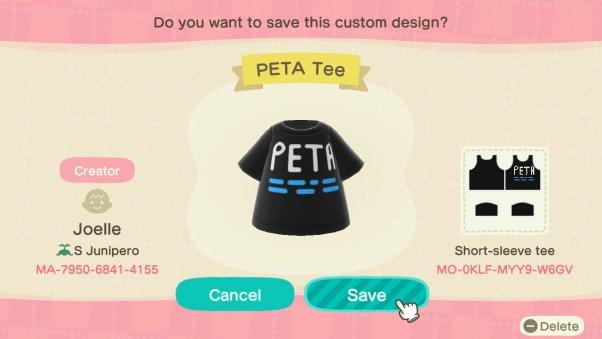 PETA shirt in animal crossing