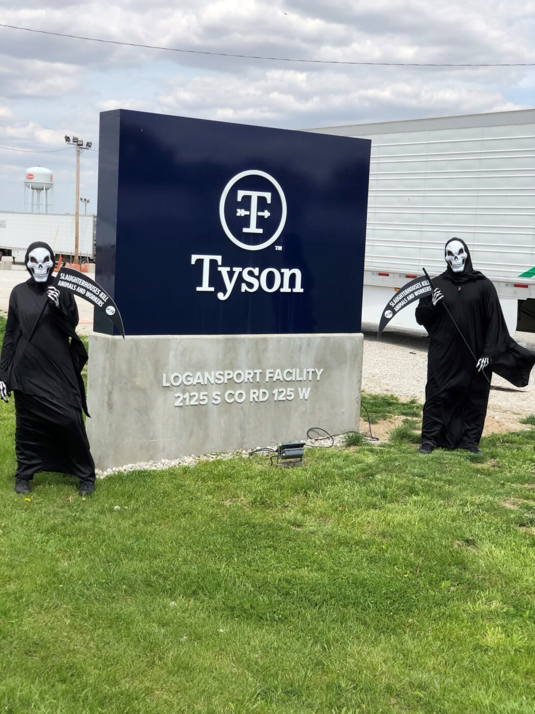 move away from meat campaign - grim reapers at tyson plant