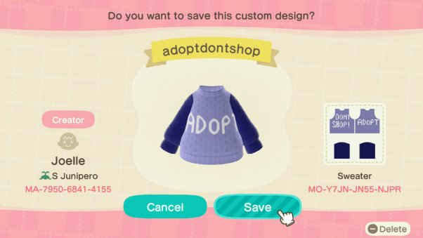 adopt don't shop sweater in animal crossing