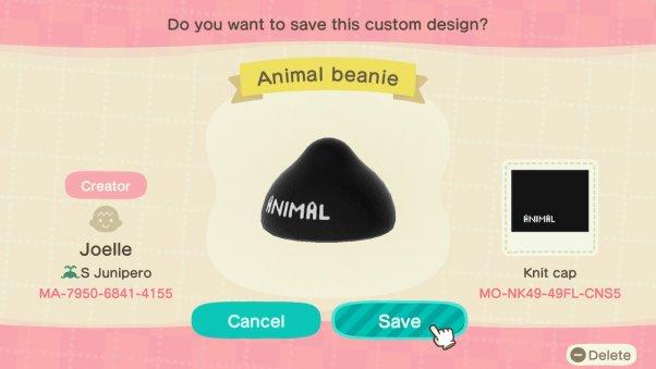 Custom animal beanie in animal crossing