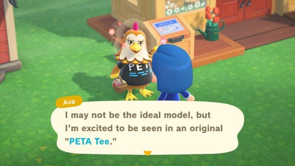 Ava wearing PETA shirt in Animal Crossing game
