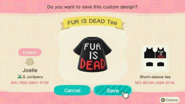 fur is dead custom animal crossing design