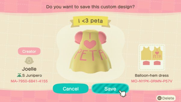 I love peta dress in animal crossing game