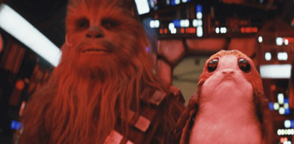star wars the last jedi chewie and porg in falcon