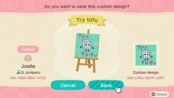 try tofu animal crossing custom design