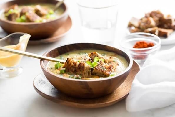panera bread cheddar broccoli soup vegan copycat
