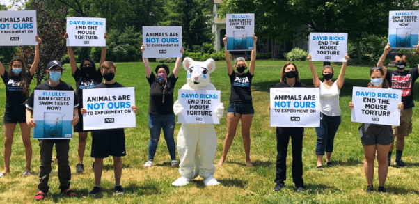Forced swim test protest at Eli Lilly CEO house