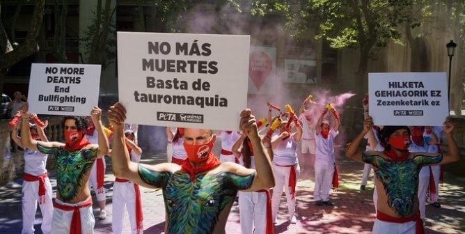 Why Is PETA U.K. Filling the Streets of Pamplona With Color?