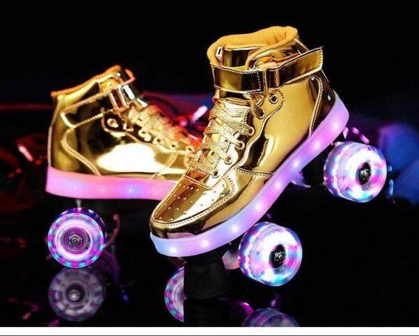 angel skates vegan roller skates in gold