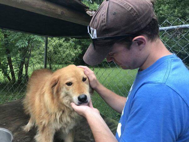 PETA fieldworker pets Mingo, a senior dog rescued by PETA