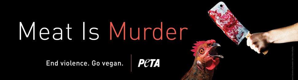 Meat Is Murder. End Violence. Go Vegan. (Chicken, Cleaver)