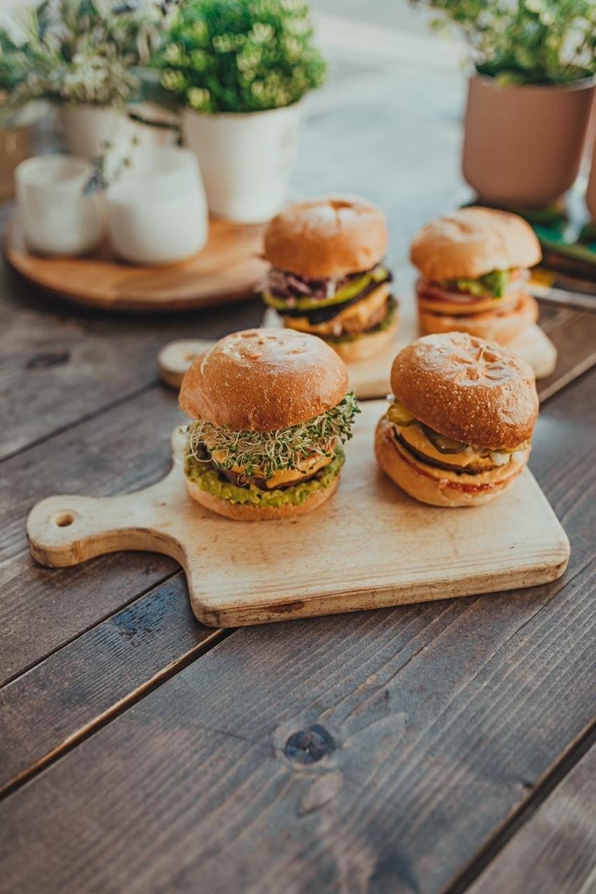 burgers on a cutting board
