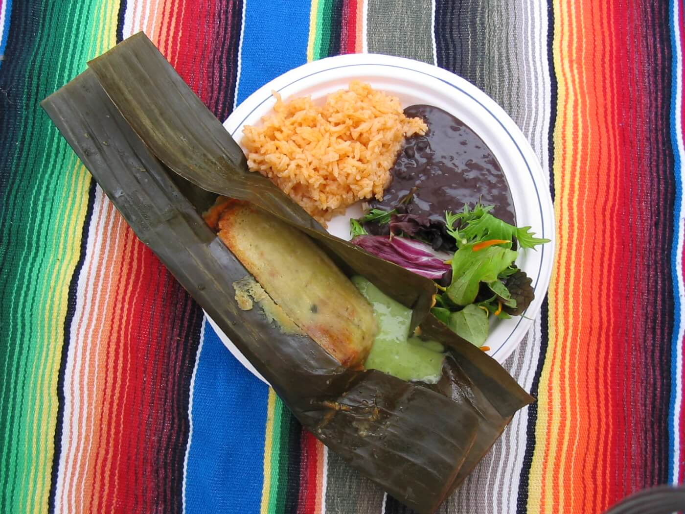 banana leaf tamale with black beans and rice on a plate, sitting on a colorful blanket