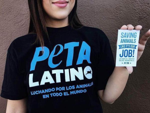PETA Latino shirt and sticker