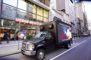 PETA mobile billboard outside urban outfitters