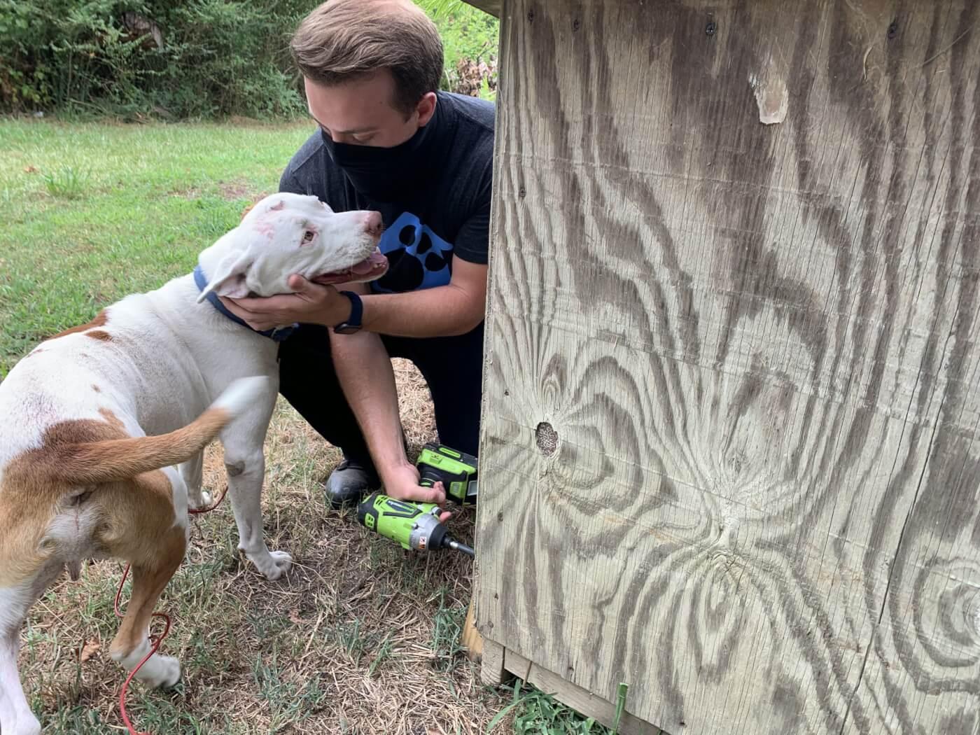 PETA fieldworkers fixes a doghouse