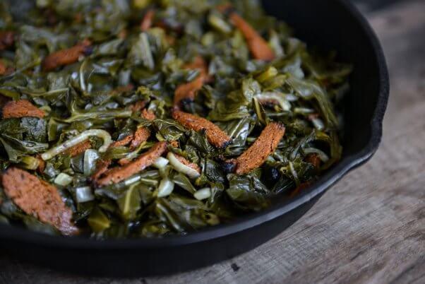 vegan mixed greens and bacon