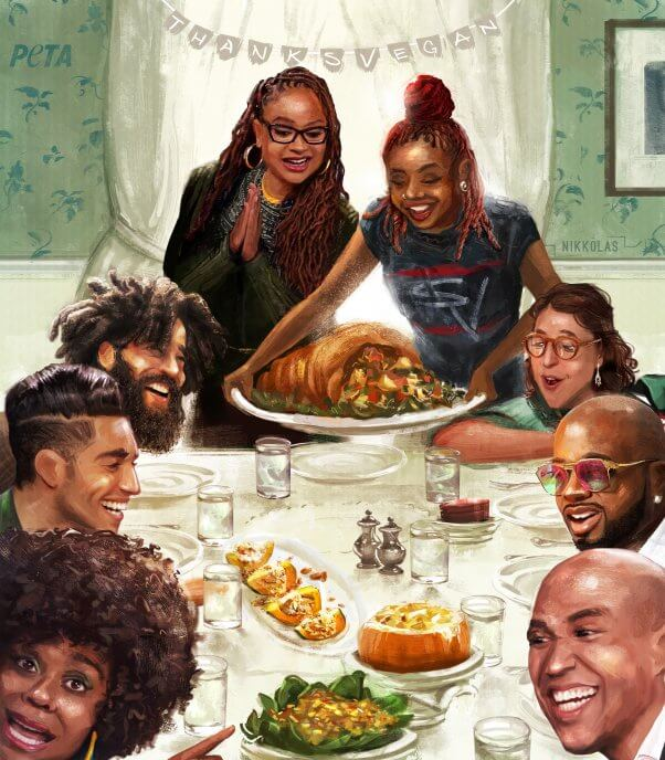 Reimagining of Norman Rockwell's painting with Ava DuVernay, Cory Booker, Tabitha Brown, Mayim Bialik, Jermaine Dupri, Mena Massoud, Grey, and Pinky Cole Serving a vegan Thanksgiving Meal