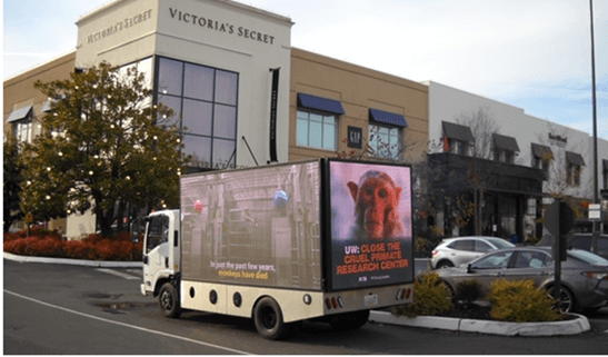 A mobile billboard calling for the closure of the cruel primate research center at UW