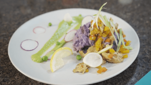 Pinky Cole's Drunken Mushrooms with Purple Potato Mash and Green Pea Purée