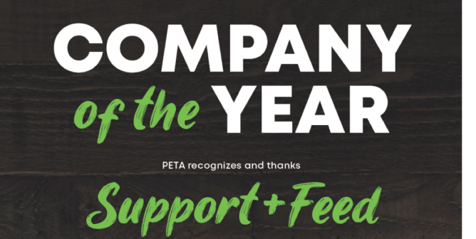 PETA's Company of the Year Award Goes to Maggie Baird's Support + Feed