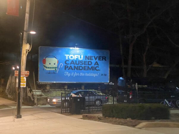 'Tofu Never Caused a Pandemic' Billboard in Ann Arbor, Michigan