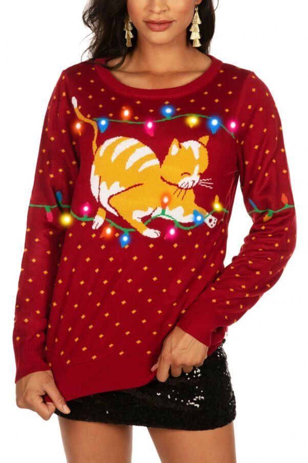 cat ugly christmas sweater wool-free