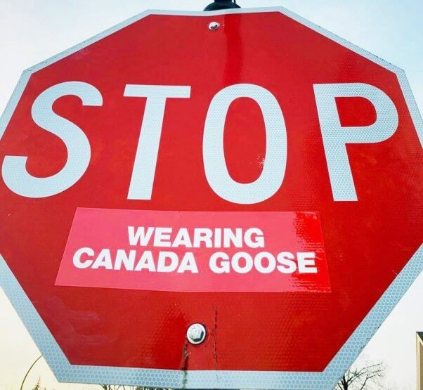 Stop Wearing Canada Goose sign