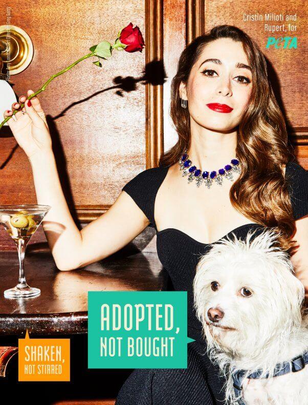 Cristin Milioti and Rupert for PETA