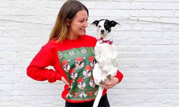 custom animal companion photo ugly christmas sweater
