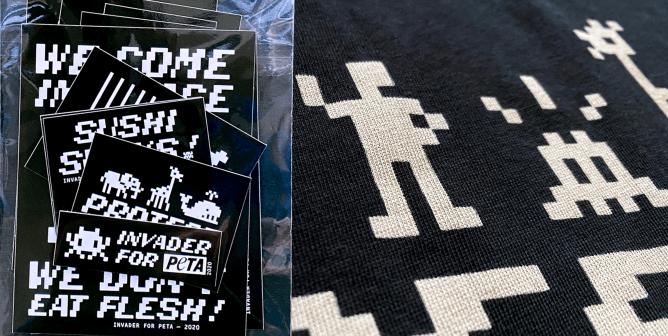 Invader x PETA France: Urban Artist Designs New Vegan T-Shirt Collection