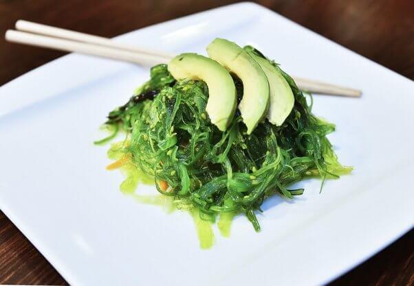 Seaweed salad with avocado