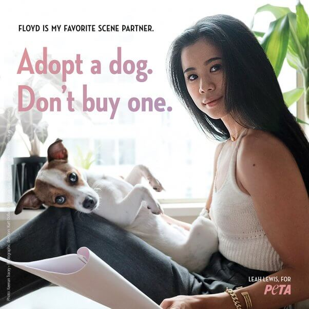 Leah Lewis and Her Dog Floyd in Adoption Ad for PETA