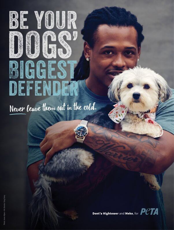Dont'a Hightower in PETA Ad for Dogs