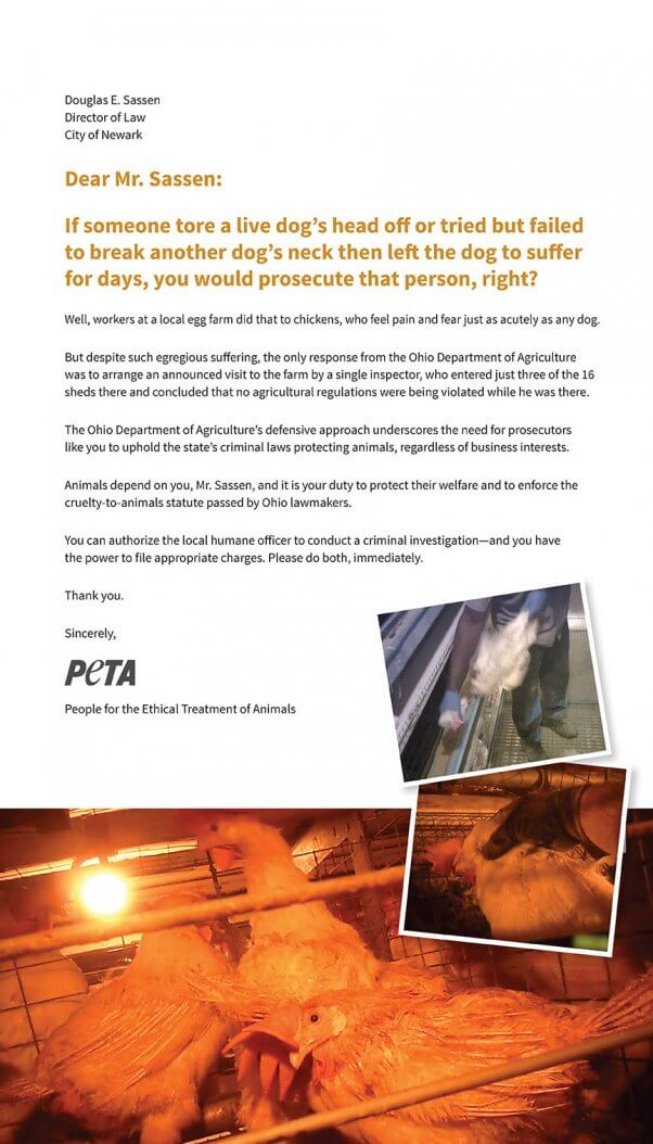 PETA full-page ad newark ohio trillium farms egg investigation