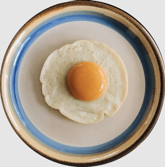 Plant-based egg on a plate