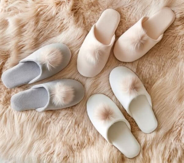Furry vegan slippers from Pottery Barn