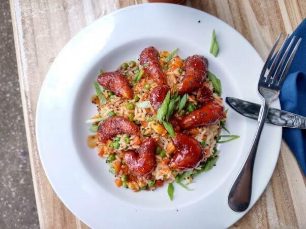Vegan shrimp with veggie rice at Cider Press Cafe